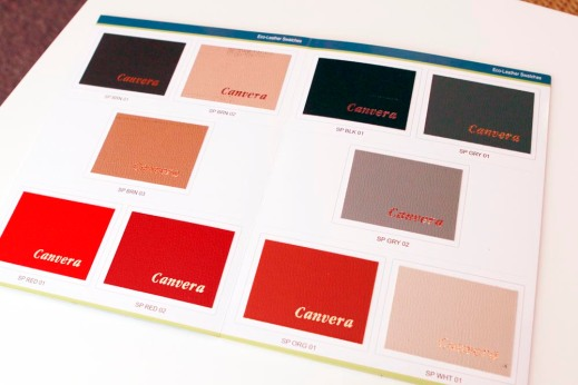 The colour options for the leather cover