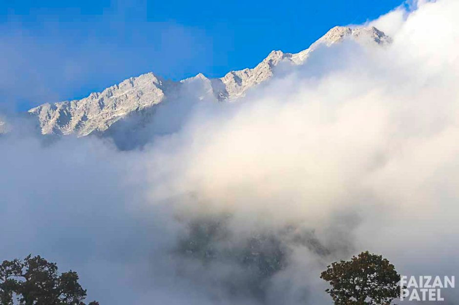 The snowclad mountain was at a 2 hours trekking away from us.