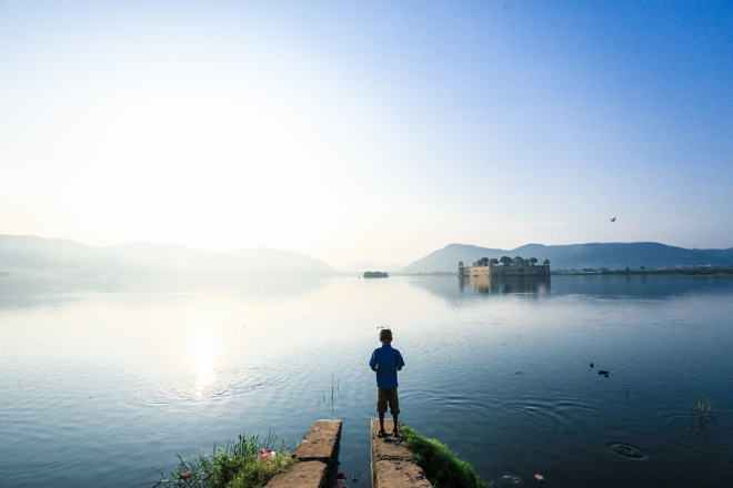Kid fishing by the Jal Mahal