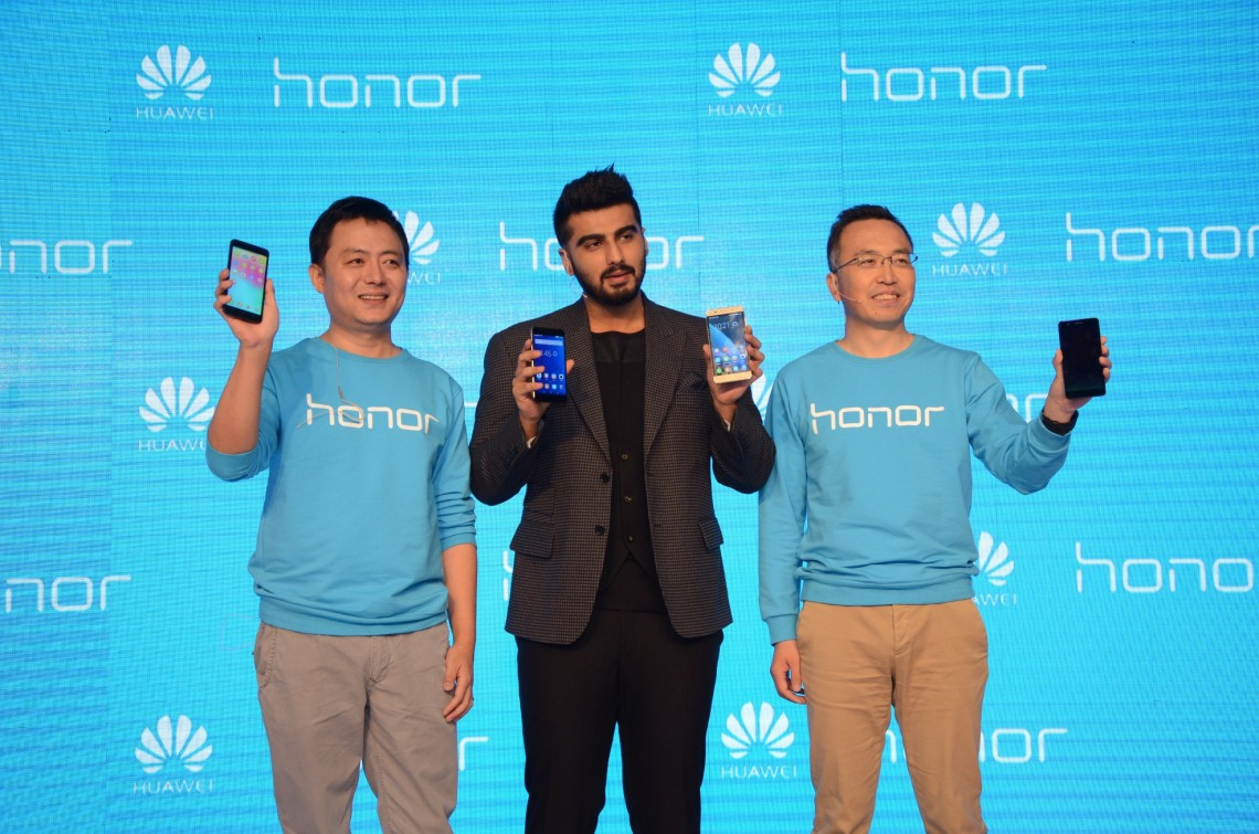 Honor Launches 2 new smartphones- Honor 6 Plus and Honor 4X in presence of Arjun Kapoor, Mr. George Zhao - President - Honor, and Mr. Allen  Wong - President, Consumer Business Group - Huawei India